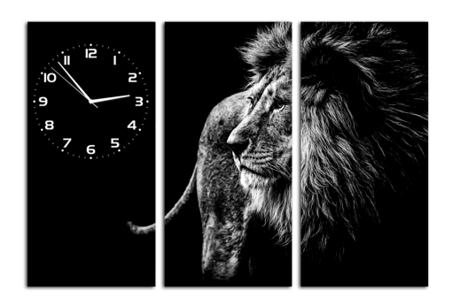 Модульная картина с часами Лев